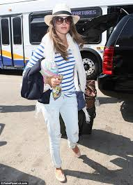 angel alessandra ambrosio is model perfect in chic stripes as she