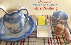 montessori practical life lesson washing a table sugar spice
