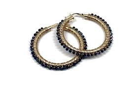 gold hoops 14kt gold hoops woven with blue spinel available in yellow