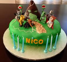 chima cake with edible chima fondant figures ninjago lego pary