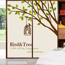 popular tree of life wall murals wallpaper buy cheap tree of life yazi customized size made bird tree pvc sliding door sticker mural balcony window glass film wallpaper