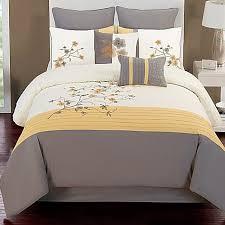 Bedding Bed Bath And Beyond Camisha 8 Piece Comforter Set In Yellow Grey Bed Bath U0026 Beyond