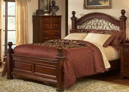 Wood And Iron Bedroom Furniture Castille Poster Bed 6 Bedroom Set In Rustic Brown Cherry