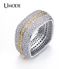Square Wedding Rings by Aliexpress Com Buy Umode Two Tone Gold Color Square Wedding Ring