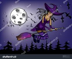 halloween witch flying night on background stock vector 86291920