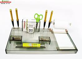 rasper stylish acrylic desk organiser with pen stand for office at