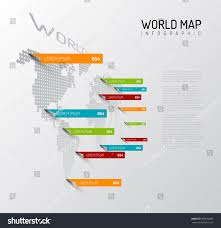 light world map infographic template pointer stock vector