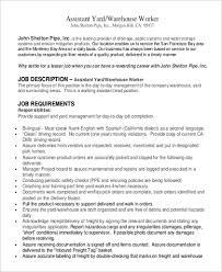 Sample Warehouse Associate Resume by Warehouse Worker Job Description Sample Cover Letter For Job