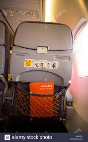 uk bristol easyjet boeing 737 700 interior back view of chair with
