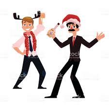 two men businessmen having fun dancing at corporate christmas