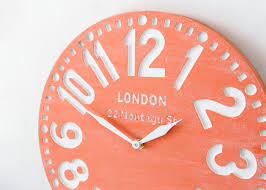 coral color nuwzz faux vintage clock london coral birch clock hand painted by