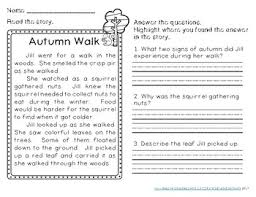 autumn reading comprehension passages second grade by sarah eisenhuth