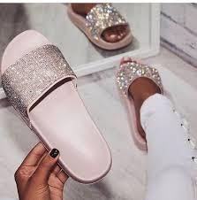 pink slides shoes glitter sequins pink slide shoes sparkle wheretoget