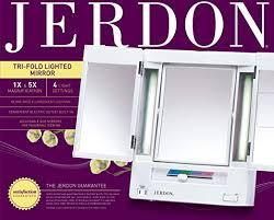 jerdon style euro design tri fold lighted mirror amazon com jerdon tri fold two sided lighted makeup mirror with 5x