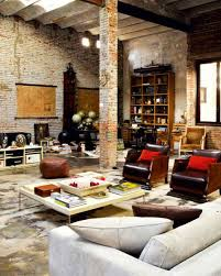 modern loft with industrial bricks living room could definately