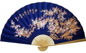 oriental fans wall decor sakura blossoms on electric blue chinese wall fan chinese scenery