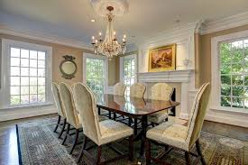 Flush Hearth Fireplace Dining Room Traditional With Crown Molding - Dining room chandeliers traditional