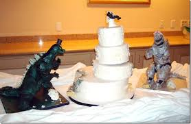 godzilla cake topper okay who invited godzilla to our wedding between the pages