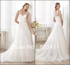 wedding dress sheer straps glamorous v back brush lace empire a line v neck destination