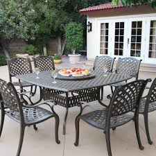 Aluminum Patio Dining Set Nassau 8 Person Cast Aluminum Patio Dining Set With Lazy Susan