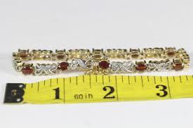 garnet sterling silver bracelet images Vintage han thailand gold vermeil sterling silver garnet diamond JPG