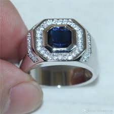 gem silver rings images 2018 men 39 s 925 silver square blue sapphire simulated diamond jpg