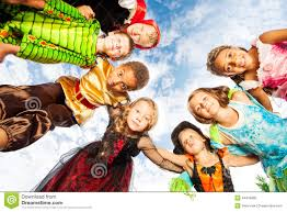 Looking For Halloween Costumes Many Kids Halloween Costumes Look Down In Circle Stock Photo
