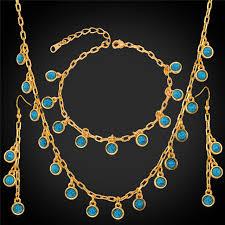 gold necklace bracelet earrings set images Trendy jewelry green stone necklace bracelet earrings set for jpg