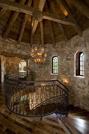 Stone Wall Sconce Rustic Staircase With Cathedral Ceiling U0026 Natural Stone Wall