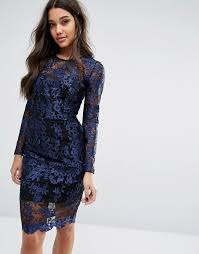 lipsy lipsy long sleeve lace dress with contrast lining