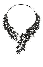 black necklace stone images Lyst bcbgmaxazria stone floral necklace in black jpeg