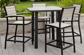 Steel Patio Furniture Sets by Furniture Awesome Slatted Teak Bar Table Design With Stool Chairs
