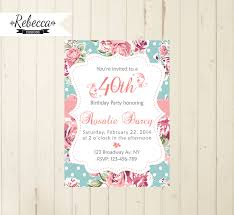 birthday brunch invitations floral birthday invitation cottage chic party tea party