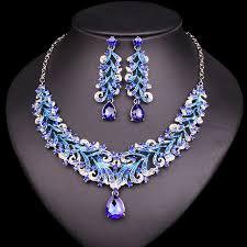 Basta Moda Indiana Azul Strass Conjuntos de Jóias de Casamento para  @IX73