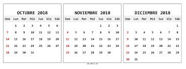 Calendario Diciembre 2018 Octubre Noviembre Diciembre 2018 Calendario Pdf Con Feriados