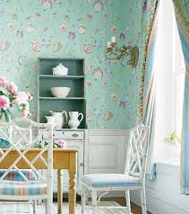 Wallpaper Designs For Dining Room by 42 French Country Interior Design Pictures Blue Floral Wallpaper