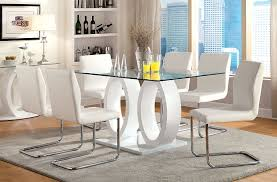 White Dining Room Chairs Amazon Com Furniture Of America Quezon Glass Top Double Pedestal