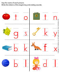 write beginning and ending sound letter of word describing picture