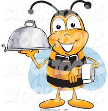 stock cartoon of a happy bee mascot cartoon character dressed as a