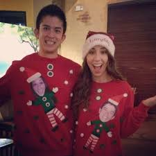 couple ugly christmas sweaters the most wonderful time of the