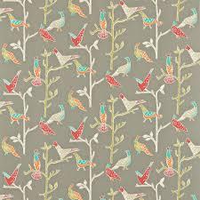 bird wallpaper home decor passaro fabric coral pewter 120206 scion wabi sabi fabrics