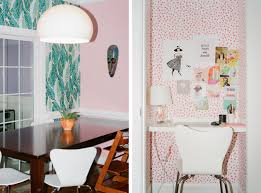 in design blogger s diy dream house color and pattern reign curbed pink in the dining room and also an area with a small desk