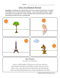light and shadows lesson plans worksheet