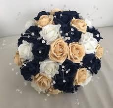 wedding flowers blue wedding flowers navy blue gold ivory foam bouquet