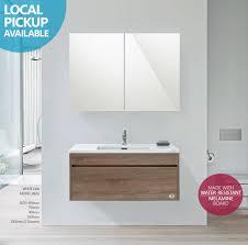 Timber Bathroom Vanity Ibiza 600mm White Oak Timber Wood Grain Wall Hung Bathroom