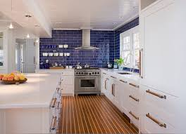 blue glass tile backsplash kitchen contemporary with carpet runner