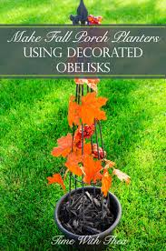make fall porch planters using decorated obelisks