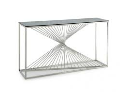 glass and metal console table modrest trinity modern glass u0026 stainless steel console table