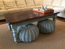 stained table top painted legs country farmhouse style coffee table legs painted duck egg blue