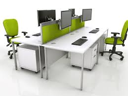 White Pedestal Desk by A Bench Desk Configuration With Screens Tool Rail Monitor Arms
